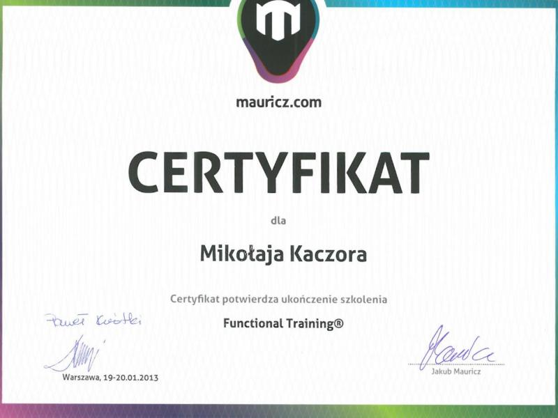 Certyfikat - Functional Training Systems